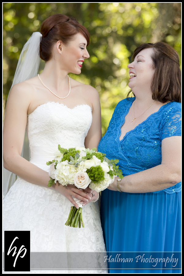 Bride with her mom before wedding