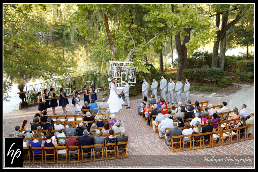high angle wide view of wedding ceremony at Millstone at Adams Pond