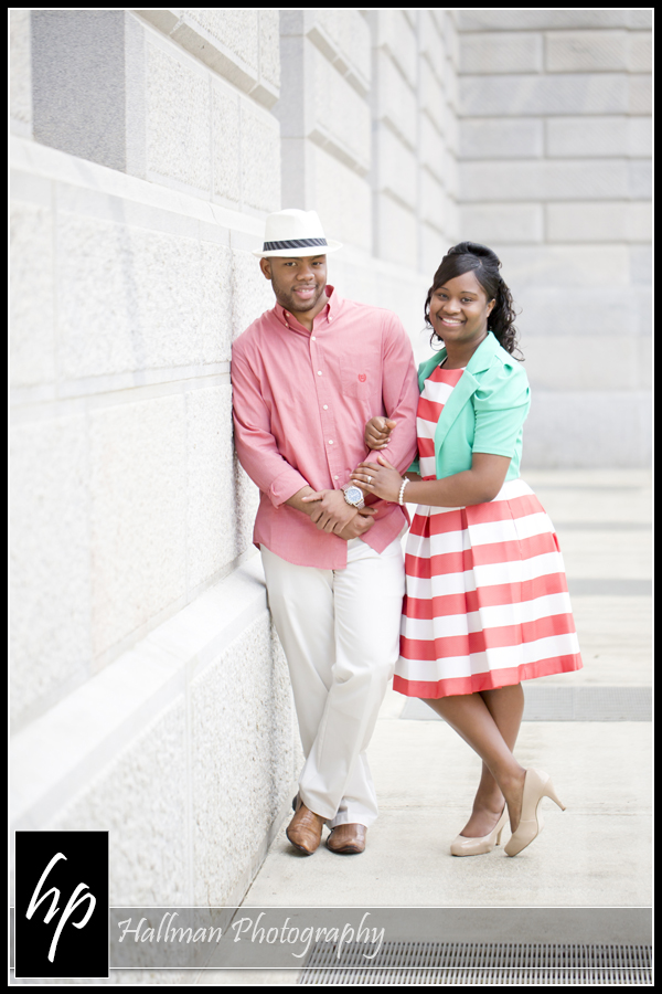 Couple posing for Engagement Photo at SC Statehouse