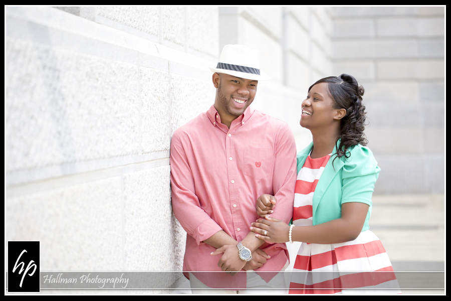 Engagement Photo at SC Statehouse with cute couple smiling